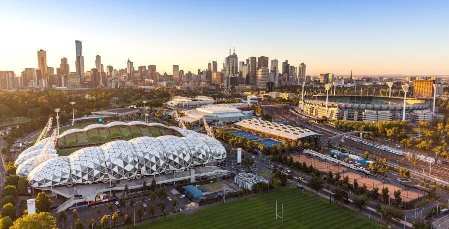 Melbourne City Tours Skyline with Sports precinct