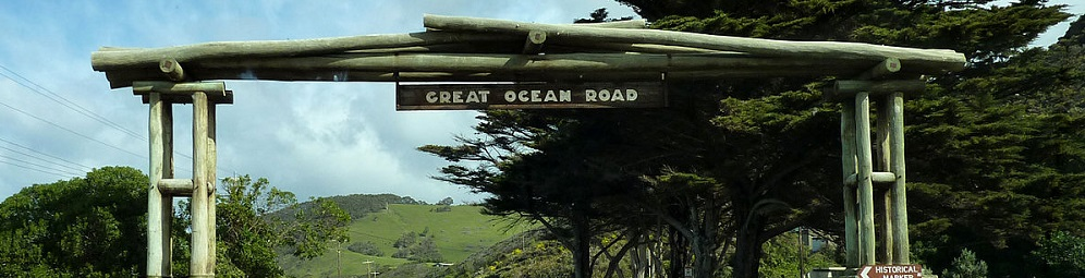 Travelling to Memorial Arch on the Great Ocean Road
