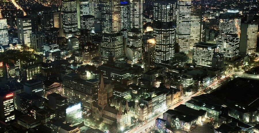 view from eureka tower at night